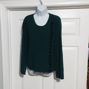 Style & Co Green Knit Sweater Lace Down Front